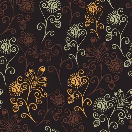 ornamental scroll: Colorful floral seamless pattern in cartoon style. Seamless pattern can be used for wallpaper, pattern fills, web page background,surface textures. Vector seamless floral background