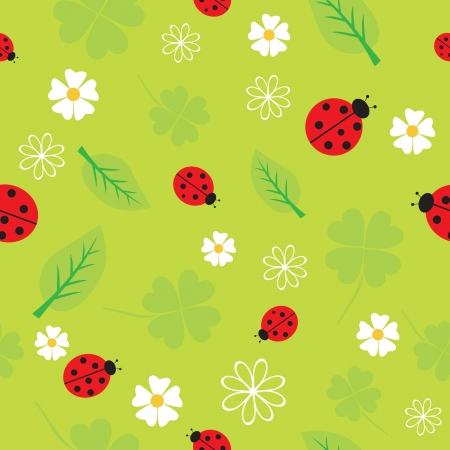 Spring seamless pattern with flowers and ladybirds. Vector