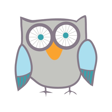 wise owl: Cute owl. Vector bird.