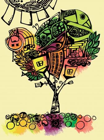 stylized autumn tree Vector