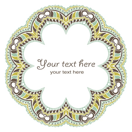 arabesque antique: Decorative round frame in winter colors Illustration