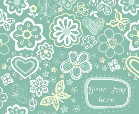Floral background, summer theme, greeting card. Template design can be used for packaging,invitatio ns, Valentines Day decoration,bag template, print for packet, cup. Place your text in the label Vector