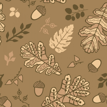 Seamless pattern with leaf and acorns. Copy that square to the side and youll get seamlessly tiling pattern which gives the resulting image the ability to be repeated or tiled without visible seams.