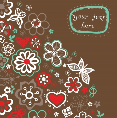 Floral background, summer theme, greeting card. Template design can be used for packaging,invitations, Valentines Day decoration,bag template, print for packet, cup. Place your text in the label Vector
