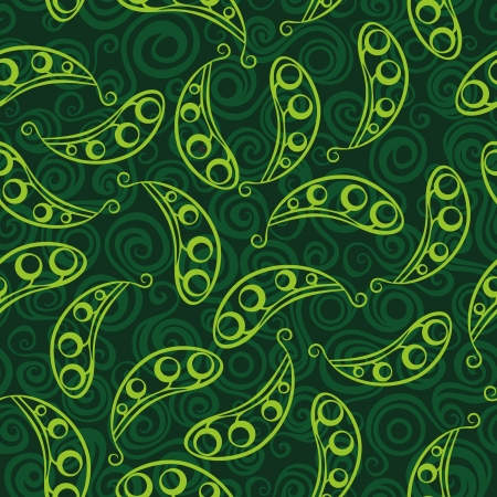 Pea pod seamless green pattern Vector