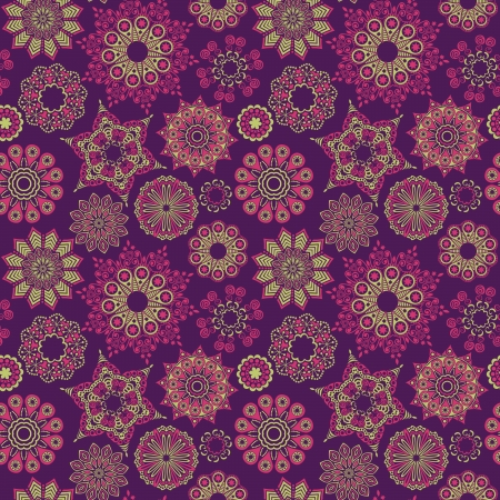 Floral seamless pattern with flowers. Copy square to the side and youll get seamlessly tiling pattern which gives the resulting image ability to be repeated or tiled without visible seams. Vector