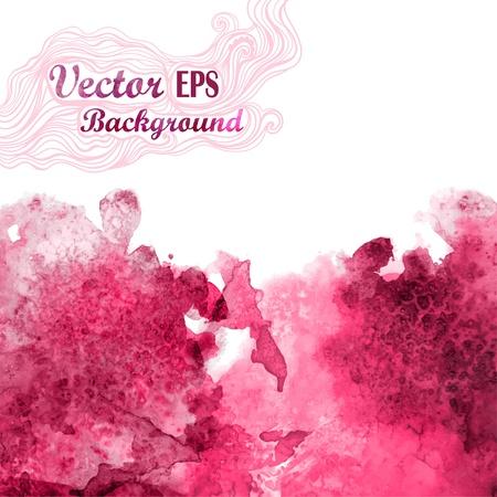 水彩画の手法でベクトル波。グランジ背景。赤ワインのスプラッシュような抽象的な水彩画をドロップします。ベクトルの汚れ。テキスト メッセー