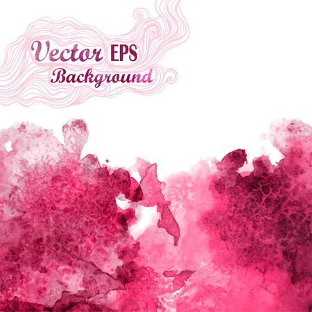 Vector wave in watercolor technique.Grunge background.Drop red abstract watercolor looks like wine splash.Vector stain. Watercolor composition for scrapbook elements with empty space for text message.