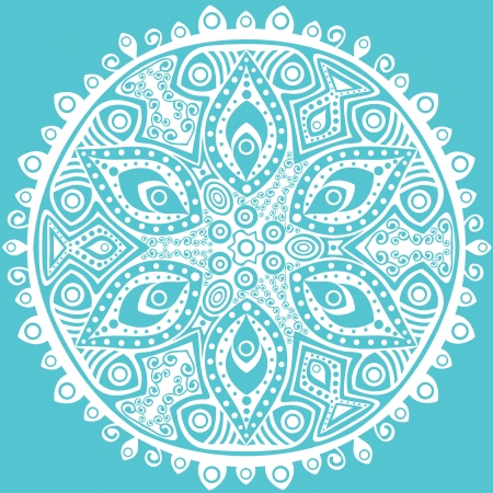 embroidery designs: ornamental round lace pattern, circle background with many details, looks like crocheting handmade lace Illustration