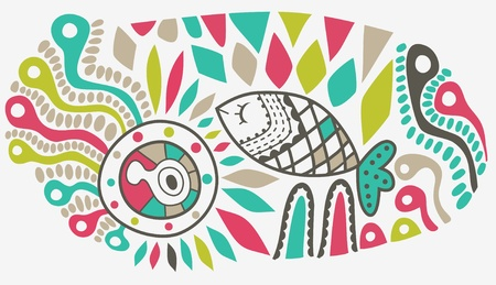 vector hand-drawn abstract design, ethnic abstract backdrop with place for your text Vector