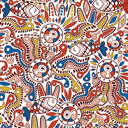 Ethnic seamless pattern. Copy square to the side and youll get seamlessly tiling pattern which gives the resulting image ability to be repeated or tiled without visible seams. Vector