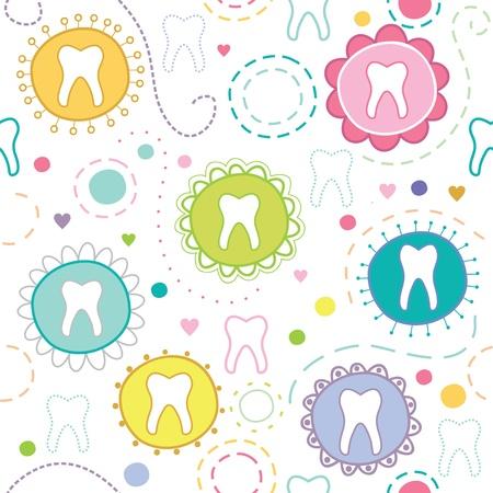 dientes caricatura: Textura incons�til alegre con dientes de la historieta Vectores