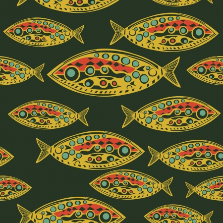 Abstract Fish Pattern. Made as seamless. Vector