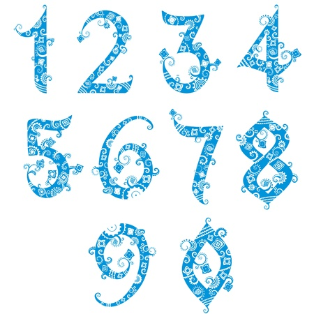 6 7: Set of stylized numbers