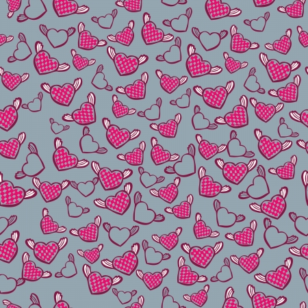 romantic seamless pattern with hearts, vector Vector