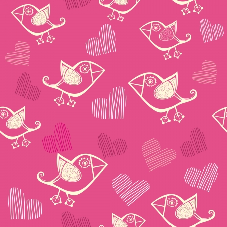 Romantic seamless pattern with stylized bird and heart. Vector