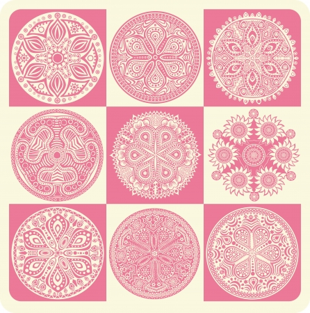 lace like: Vector Indian ornament, kaleidoscopic floral pattern, mandala. Set of ornament lace. ornamental round lace pattern, circle background with many details, looks like crocheting handmade lace
