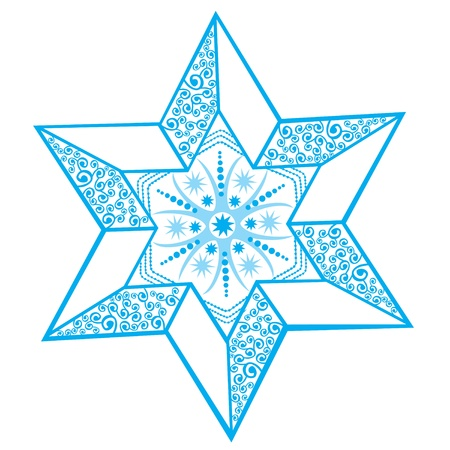 Stylized winter star with snowflake in the center, decoration