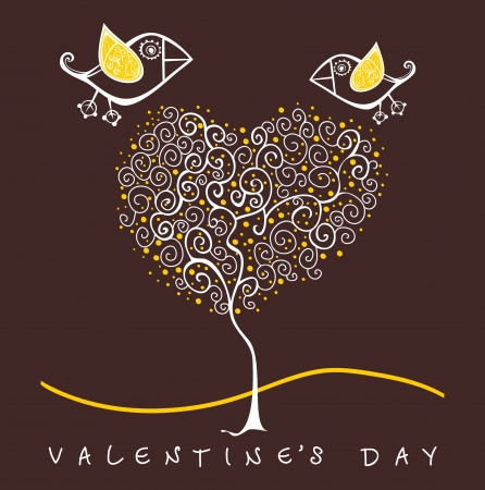 cartoon birds above romantic flowers holding heart, Valentines Day Heart Banner Vector