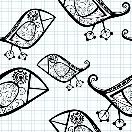 lines: Vector seamless pattern with cartoon birds.
