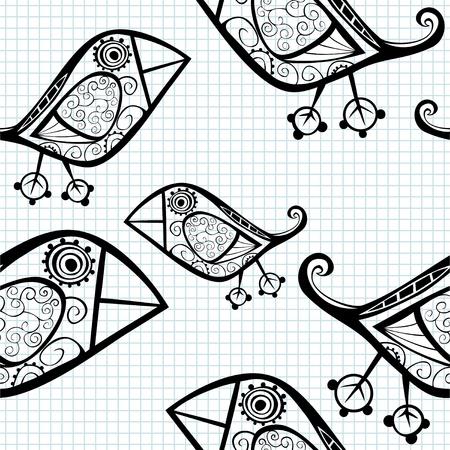 owl tattoo: Vector seamless pattern with cartoon birds.