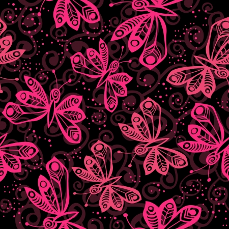 Romantic butterfly seamless pattern. Vector