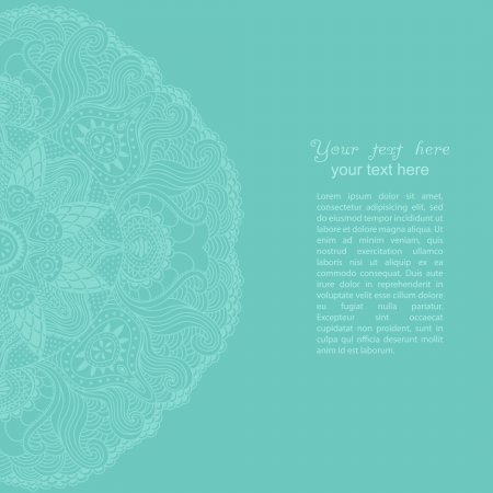 pastel tone: ornamental round lace pattern, circle background with many details, looks like crocheting handmade lace Illustration