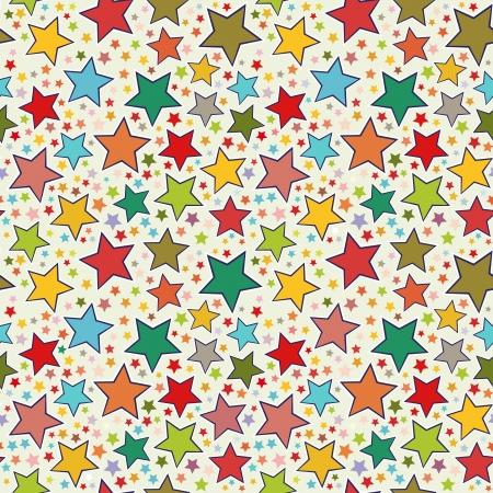 christmas seamless pattern: Colorful stars seamless pattern Illustration