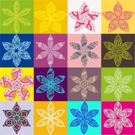 Set of four colorful floral patterns.Copy square to the side and you'll get seamlessly tiling pattern which gives the resulting image ability to be repeated or tiled without visible seams. Ilustração