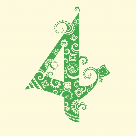 cijfer vier: Number four in green