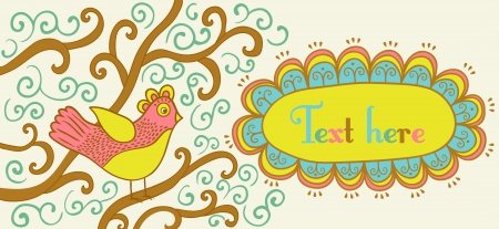 Retro style banner with bird and frame for your text in autumnal style.Vintage illustration of bird, can be used as website header, web page decoration. Bird on a branch with place for your text. Vector
