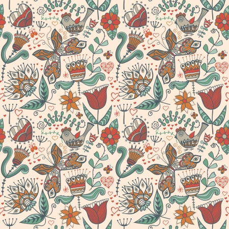 web background pattern: Seamless texture with flowers, birds and butterflies. Seamless pattern can be used for wallpaper, pattern fills, web page background,surface textures. Gorgeous seamless floral background