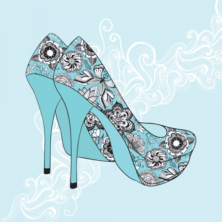 foot gear: A high-heeled vintage shoes with flowers fabric. High heels background with place for you text