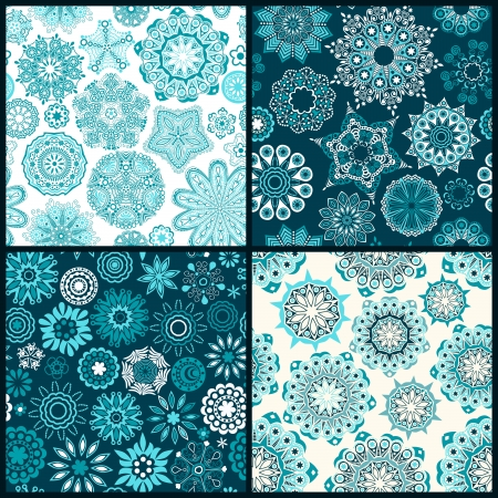 ornated: Set of four ornated floral seamless texture, endless pattern with flowers looks like retro snowflakes or snowfall. Can be used for wallpaper, pattern fills, web page background, surface textures  Illustration
