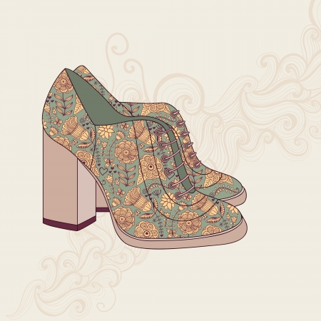 foot fetish: A high-heeled vintage shoes with flowers fabric. High heels background with place for you text