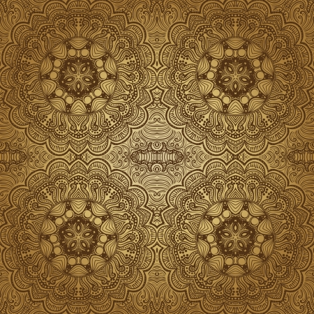 ornamental lace pattern, circle background with many details, looks like crocheting handmade lace, seamless texture Vector