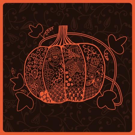 ornated: Ornated pumpkin, stylized Halloween card Illustration