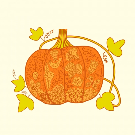 Ornated pumpkin, stylized Halloween card Vector