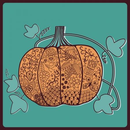 ornated: Zucca ornated, carta di Halloween stilizzata Vettoriali