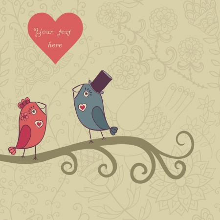vernal: Beautiful birds in love.Illustration of cartoon birds on branch, two romantic birds sitting on the tree. Valentines day card with place for your text.
