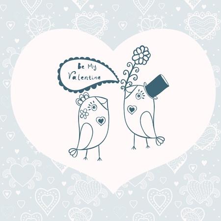 ébredés: Gyönyörű madarak love.Illustration rajzfilm madarak, elágazik, két romantikus madár ül a fán. Valentin-napi kártya hely a szöveget.