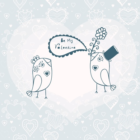 romanticist: Beautiful birds in love.Illustration of cartoon birds on branch, two romantic birds sitting on the tree. Valentines day card with place for your text.