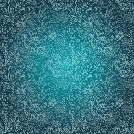 質地: 無縫紋理花,鳥和蝴蝶。無縫圖案可用於牆紙,圖案填充,網頁背景,表面紋理。華麗的無縫花卉背景 向量圖像