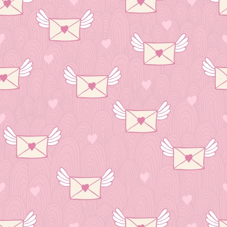 Seamless pattern with post letters. Love mail. Vector