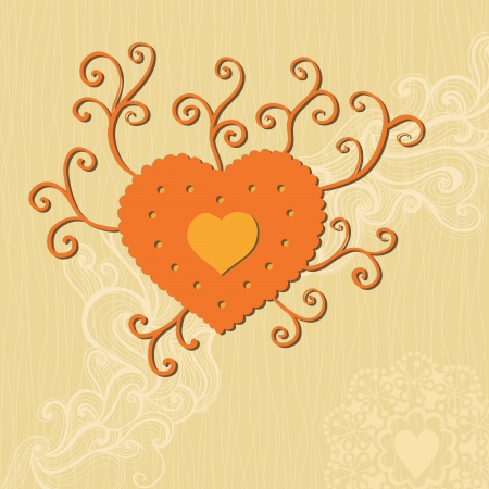 Floral heart. Heart made of flowers.Doodle Heart Vector