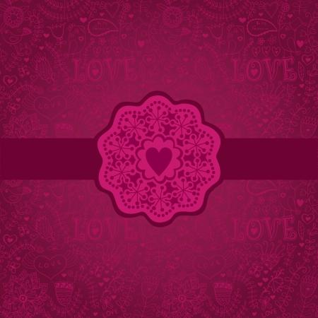 Floral Background with Vintage Label.Gorgeous seamless floral background. Floral background in red with vintage label design. Vector