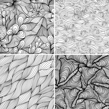 Set of four seamless abstract hand-drawn pattern, waves background. Seamless pattern can be used for wallpaper, pattern fills, web page background,surface textures. Gorgeous seamless floral background Vector