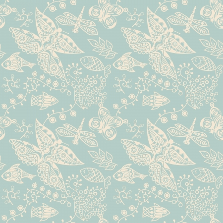 Seamless pattern with butterflies and flowers. Stock Vector - 21405317