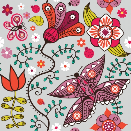 Seamless pattern with butterflies and flowers. Stock Vector - 21405395