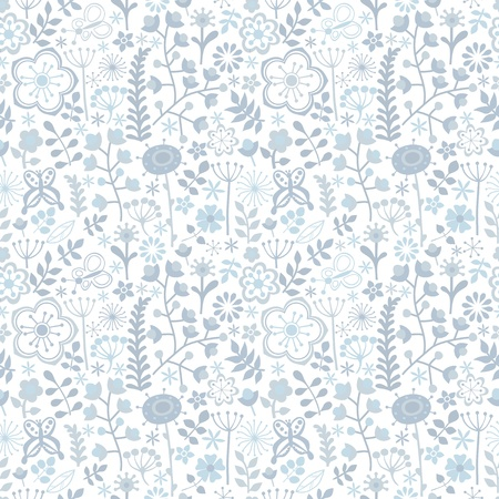 Seamless texture with flowers and butterflies. Endless floral pattern, colorful pattern.